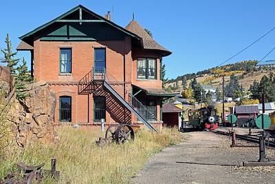 #3 at Cripple Creek, with the 1895 Midland Terminal Depot at left