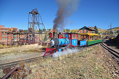 #2 at Cripple Creek Wye, with the 1895 Midland Terminal Depot at right