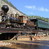 Eureka & Palisade #4 at Durango & Silverton : Eureka & Palisade #4 on the Durango & Silverton Narrow Gauge Railroad - Durango, CO Photos from August 2010, featuring Eureka & Palisade 8-18 C class steam locomotive #4 in passenger service on the Durango & Silverton Narrow Gauge Railroad. The Eureka was privately restored in the 1980s to match its original appearance as it left Baldwin Locomotive Works in 1875. It is one of few operable wood-burning steam locomotives in North America and makes infrequent appearances at narrow gauge railroads in the West. Additional photos are available in the Durango & Silverton Narrow Gauge Railroad Gallery.