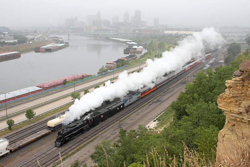Milwaukee Road 261 against the St. Paul skyline, from Dayton's Bluff