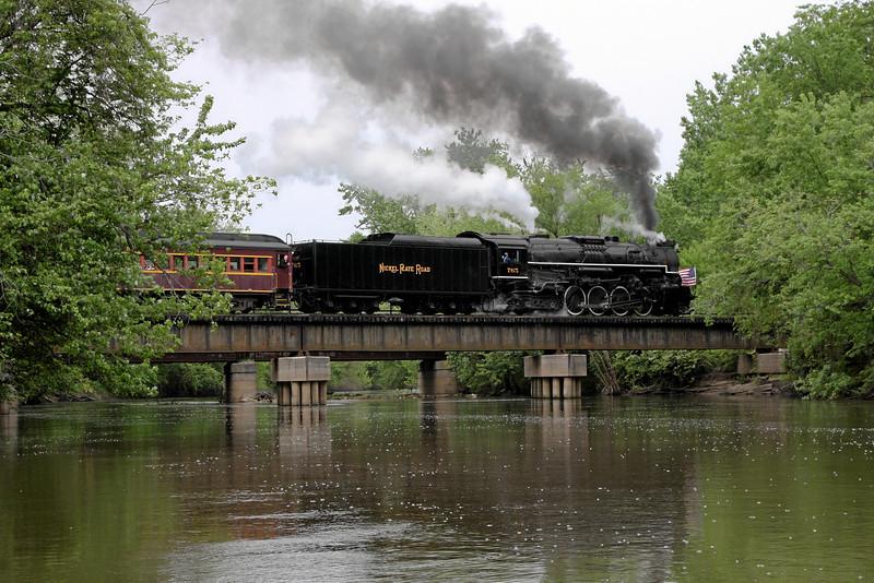 Nickel Plate 765 crossing the Kankakee River at English Lake, Indiana