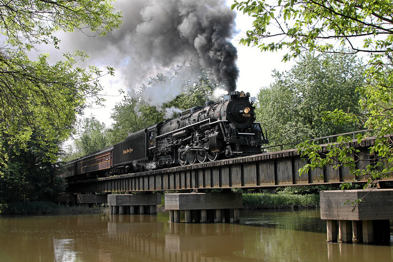 Nickel Plate 765 crossing the Kankakee River at English Lake, Indiana