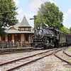 Southern 630 passes the restored 1898 Barber Jct. station at NC Transportation Museum