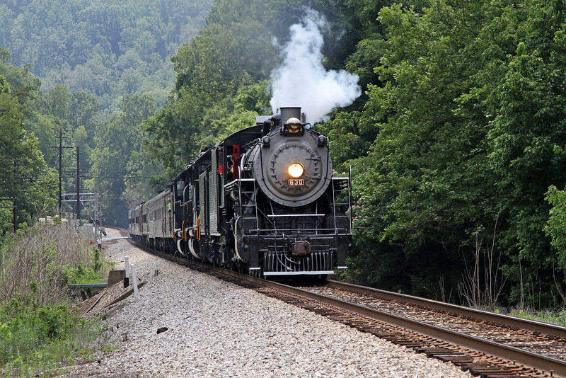 "Southern 630 at Fieldale, Virginia, leading a Norfolk Southern ""21st Century Steam"" special from Winston-Salem to Roanoke"