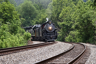 """Southern 630 at Philpott, Virginia, leading a Norfolk Southern """"21st Century Steam"""" special from Winston-Salem to Roanoke"""