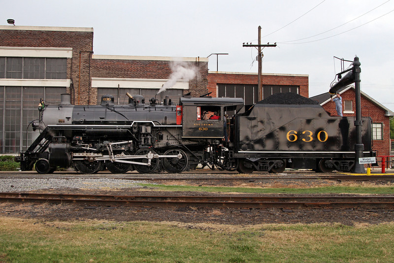 Southern 630 taking water at NC Transportation Museum