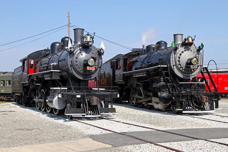 Southern 2-8-0 #542 (built 1903, now display only) beside 630 at the NCTM roundhouse