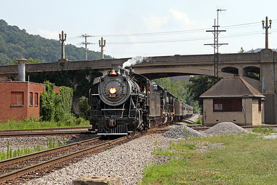 """Southern 630 passing JK Tower in Roanoke, Virginia, leading a Norfolk Southern """"21st Century Steam"""" special from Winston-Salem to Roanoke"""
