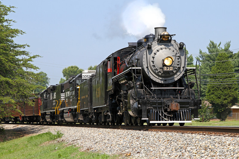 "Southern 630 at Walkertown, North Carolina, leading a Norfolk Southern ""21st Century Steam"" special from Winston-Salem to Roanoke"