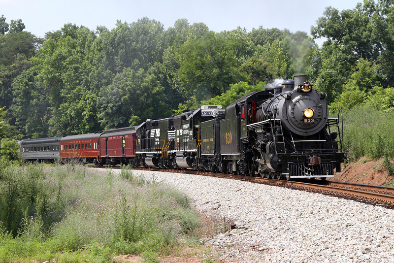 "Southern 630 at Mayodan, North Carolina, leading a Norfolk Southern ""21st Century Steam"" special from Winston-Salem to Roanoke"