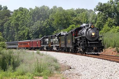 "Southern 630 at Mayodan, North Carolina, leading a Norfolk Southern ""21st Century Steam"" special from Winston-Salem to Roanoke"