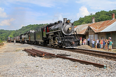 """Southern 630 passing the former station in Boones Mill, Virginia, leading a Norfolk Southern """"21st Century Steam"""" special from Winston-Salem to Roanoke"""