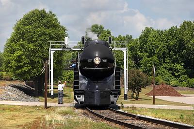 N&W 611 at Spencer, NC (receiving train orders)