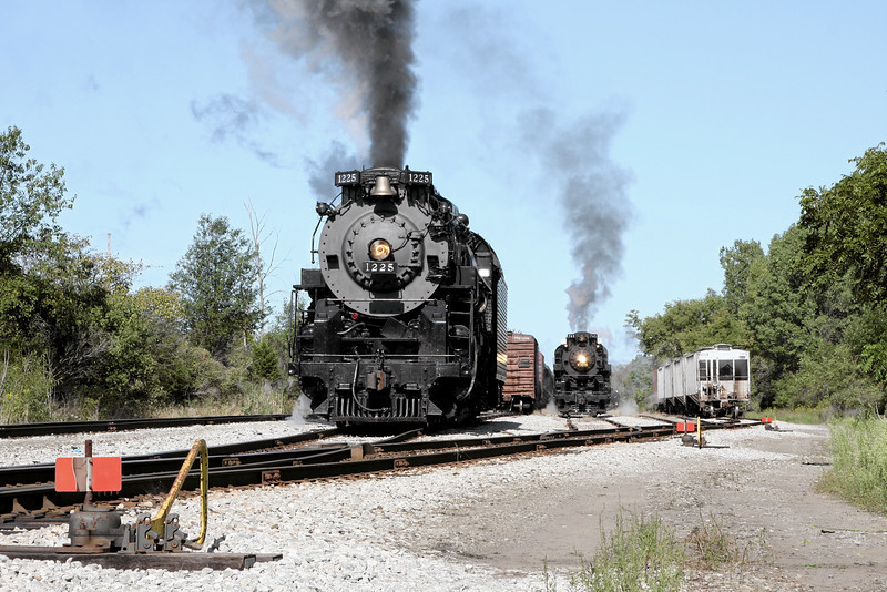 PM 1225 & NKP 765 at Owosso, MI (Great Lakes Central Railroad Yard)