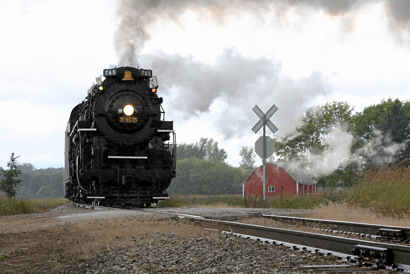 Nickel Plate 765 in the rain at Ithaca, Michigan (Jerome Road)