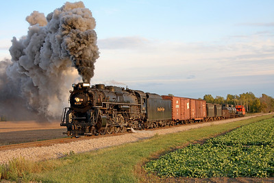 Nickel Plate 765 at Bannister, MI (approaching County Line Road)