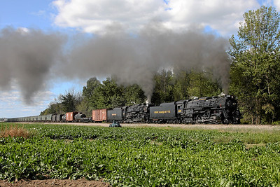 PM 1225 & NKP 765 at Elsie, MI (along Upton Road)