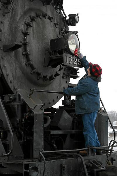 Pere Marquette 1225 at the steam shop in Owosso, Michigan