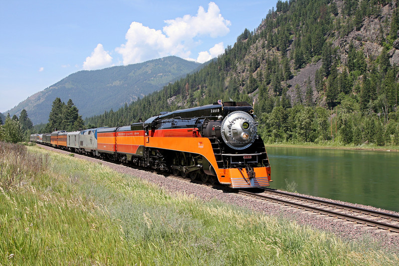 Southern Pacific Daylight 4449 at Libby, Montana<br /> (Kootenai River)