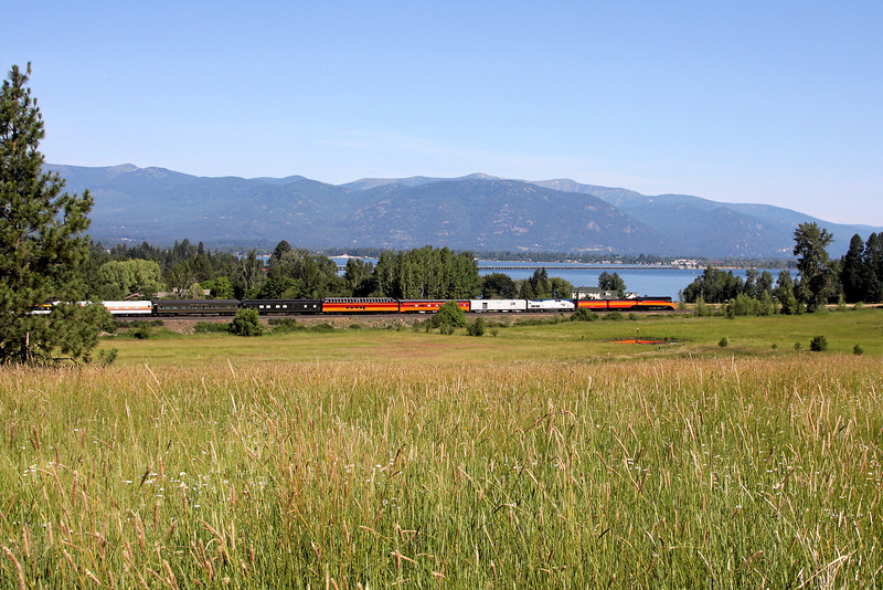 Southern Pacific Daylight 4449 at Sandpoint, Idaho<br /> (Lake Pend Oreille and Rt 95 causeway in distance)