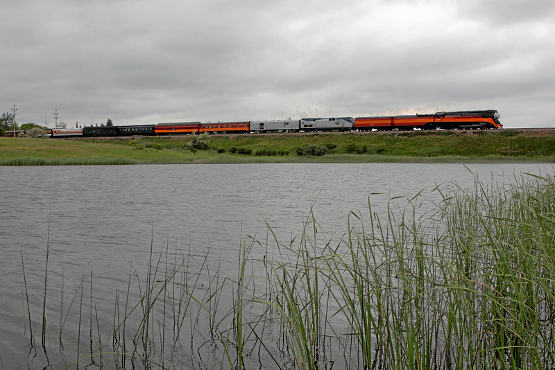 Southern Pacific Daylight 4449 at Stanley, North Dakota<br /> (City Pond)