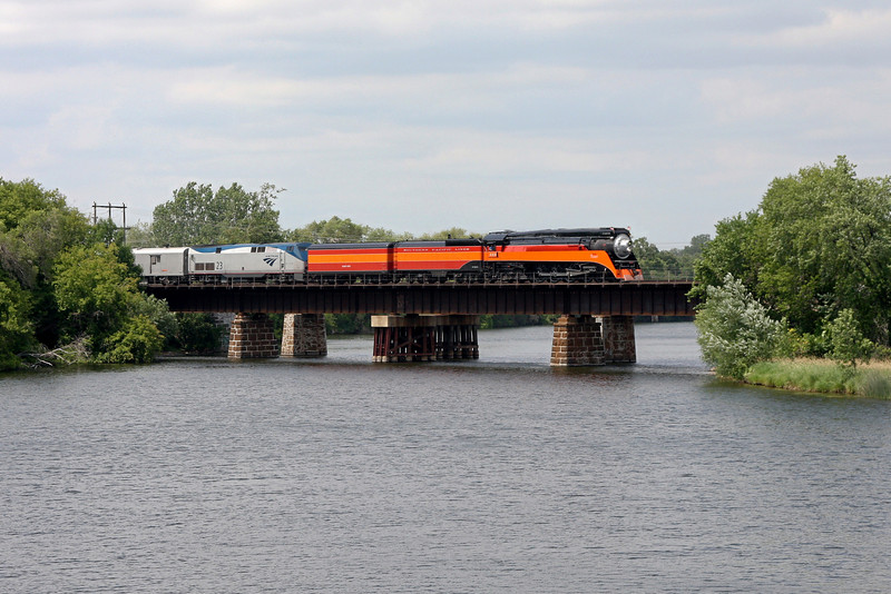 Southern Pacific Daylight 4449 at Anoka, Minnesota<br /> (Rum River Bridge)