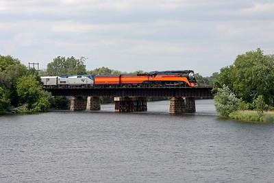 Southern Pacific Daylight 4449 at Anoka, Minnesota (Rum River Bridge)