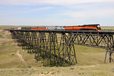 Southern Pacific Daylight 4449 at Cut Bank, Montana (Cut Bank Creek Trestle)