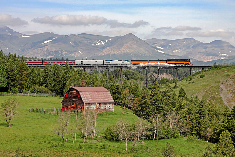 Southern Pacific Daylight 4449 at East Glacier, Montana<br /> (Two Medicine River Bridge)