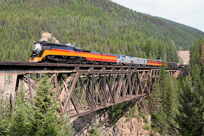 Southern Pacific Daylight 4449 at Essex, Montana<br /> (Java Trestle)