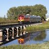 SLRG #1100 crosses the Rio Grande River at Alamosa (August 2011)