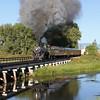LS&I #18 crosses the Rio Grande River at Alamosa (August 2011)