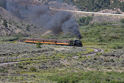 LS&I #18 eastbound through the S curves between mileposts 218 and 219, just west of Wagon Creek Junction (August 2011)
