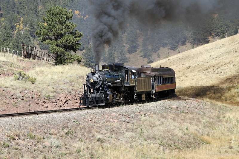 LS&I #18 eastbound entering Mule Shoe Loop (September 2012)