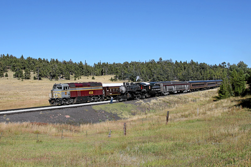 SP 1744 waits on the siding at Fir while SLRG 459 heads westbound to Alamosa with the Rio Grande Scenic's daily passenger excursion (September 2007)
