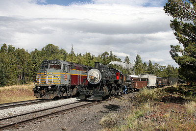 SP 1744 waits on the siding at Fir while SLRG 456 heads westbound to Alamosa with the Rio Grande Scenic's daily passenger excursion (September 2007)