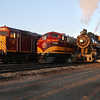 LS&I 2-8-0 #18, SLRG FP10 #1100, and SLRG F40PH #459 at Alamosa (September 2012)