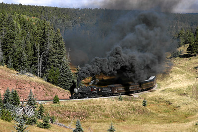 SP 1744 approaches the summit of La Veta Pass with an eastbound passenger charter from Alamosa to La Veta (September 2007)