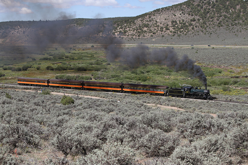 LS&I #18 eastbound at milepost 218, approaching Wagon Creek Junction (August 2011)