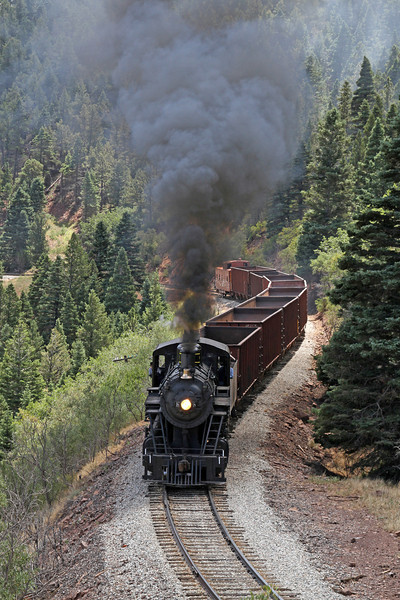 LS&I #18 westbound approaching a rock cut at milepost 199.7 (August 2011)