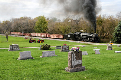 Southbound Soo Line 1003 charges past St. John's Catholic Church on Rome Road in Rubicon, Wisconsin.