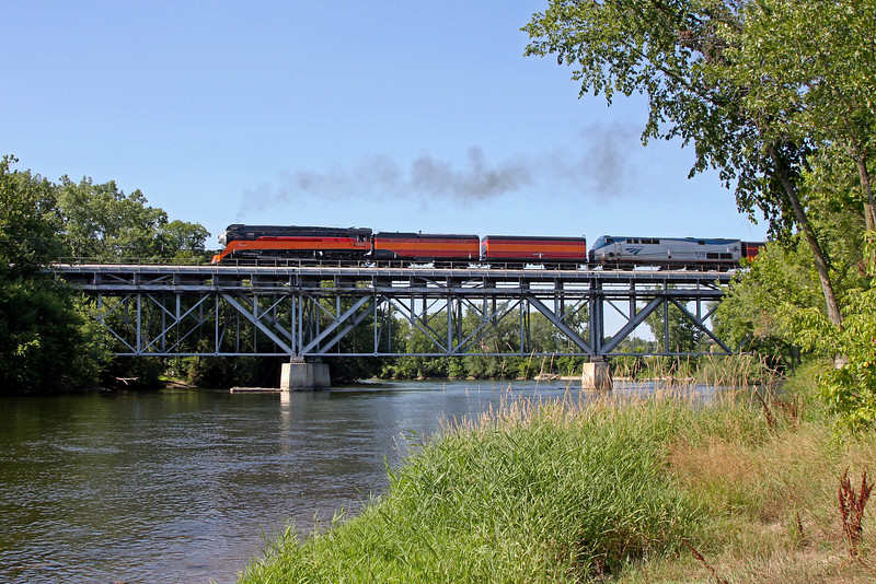 SP Daylight 4449 crossing the St. Joseph River at Niles, Michigan