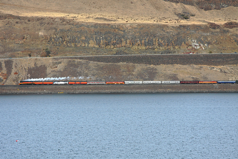 SP Daylight 4449 seen from across the Columbia River in Blalock, Oregon