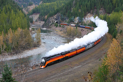 SP Daylight 4449 exits Tunnel 4 nearing West Glacier, Montana