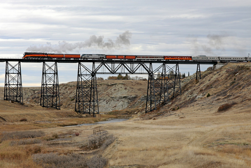 SP Daylight 4449 at Cut Bank, Montana (Cut Bank Creek Trestle)