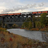 SP Daylight 4449 nears Spokane, Washington<br /> (Spokane River Bridge)