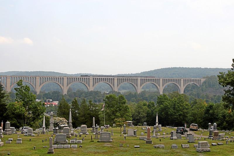 Steamtown excursion crosses Tunkhannock Viaduct (Nicholson) - September 9, 2007