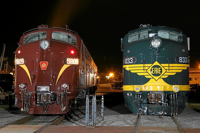 Pennsylvania Railroad E8 #5711 and Erie E8 #833 at Steamtown - November 3, 2007