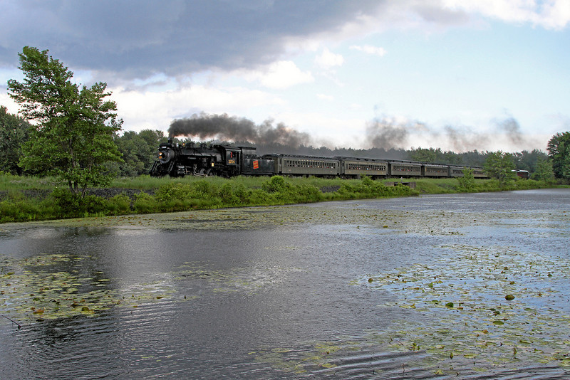 Steamtown excursion in the rain at Gouldsboro - June 24, 2010