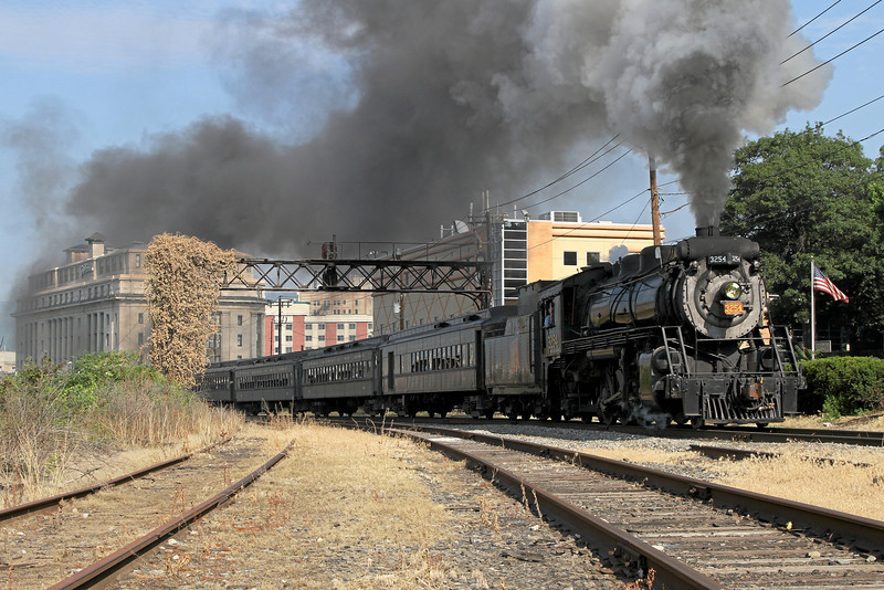 Steamtown excursion passes the Lackawanna Station Hotel (at left) in Scranton - June 26, 2010